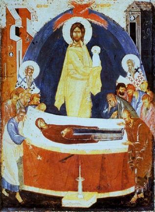 Η κοίμηση της Θεοτόκου. Ρωσική εικόνα του Θεοφάνη του Έλληνα (14ος αιώνας).