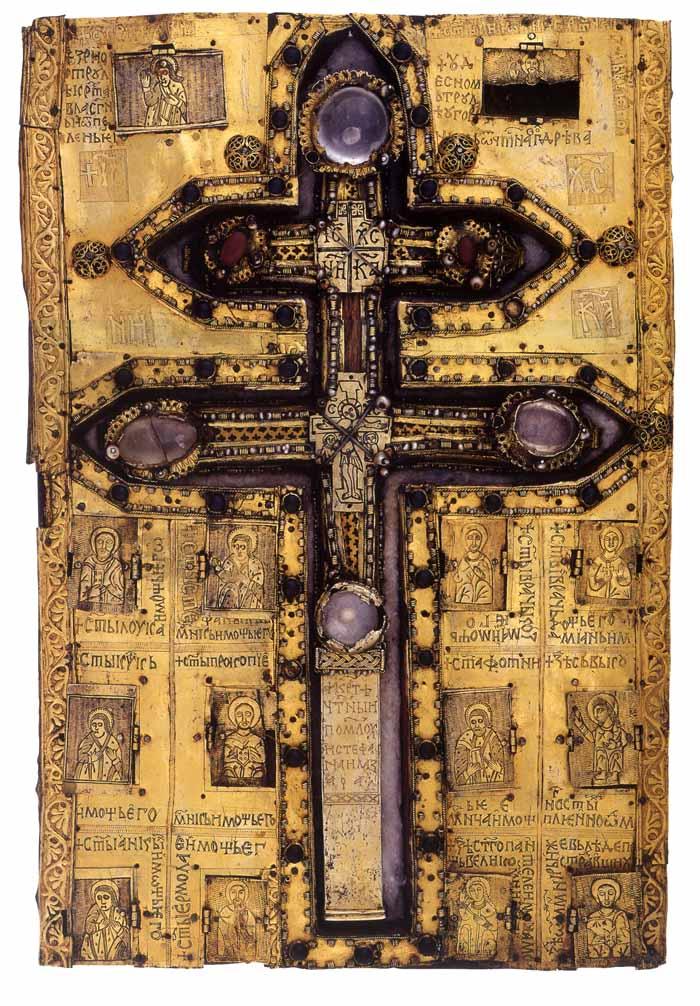 Λειψανοθήκη με τεμάχιο του Τίμιου Ξύλου. Δώρο του Αγίου Λάζαρου Βασιλέα των Σέρβων στην Ιερά Μεγίστη Μονή Βατοπαιδίου.