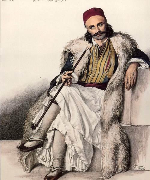 Ο Βασίλης Γούδας – Υπασπιστής του Μάρκου Μπότσαρη.Louis Dupre