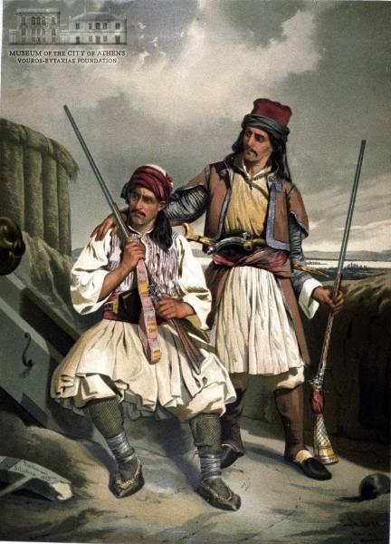 LEOP. MULLER (1834-1892)Έλληνες με καριοφύλια 1855, λιθογραφία έγχρωμη.maccunion