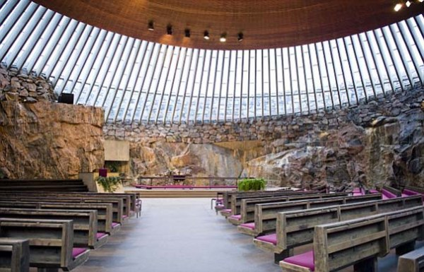Altar and pews in the Rock Church in Helsinki