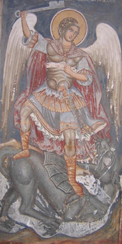 Μονή Φιλοθέου (1765), εξωνάρθηκας καθολικού. Σκηνή 23: Η φυλάκιση του Σατανά για χίλια έτη (Αποκ. κ΄, 1-3).