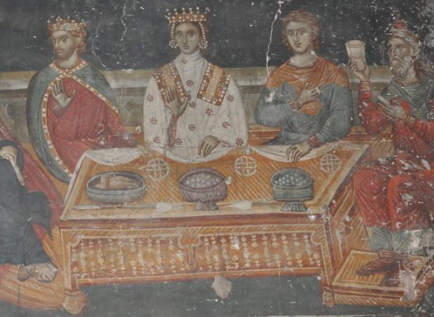 Τοιχογραφία.  Θεσσαλονίκη, Ναός Αγίου Νικολάου Ορφανού, Εν Κανά γάμος. (©Φωτογραφικό Αρχείο ΕΚΒΜΜ)