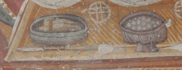 Τοιχογραφία. Θεσσαλονίκη, Ναός Αγίου Νικολάου Ορφανού, Αναπαράσταση βυζαντινών εδεσμάτων. (©Φωτογραφικό Αρχείο ΕΚΒΜΜ)