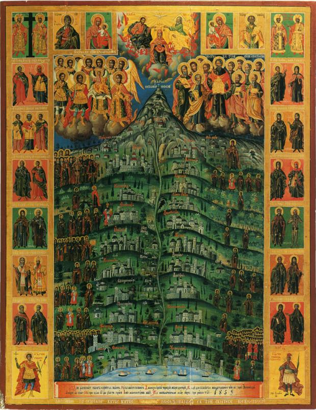 Μονές και Άγιοι του Άθω. Φορητή εικόνα της Ρουμανικής σκήτης. Έργο Γενναδίου μοναχού Ρώσου. 1859