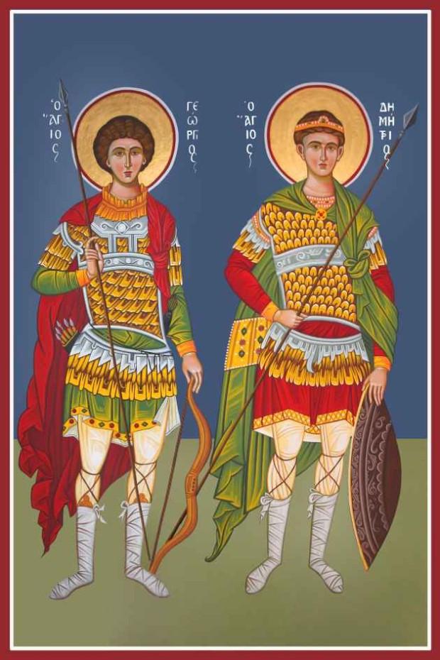 Ο Άγιος Γεώργιος μαζί με τον Άγιο Δημήτριο - Καζακίδου Μαρία© (byzantineartkazakidou. blogspot.com)