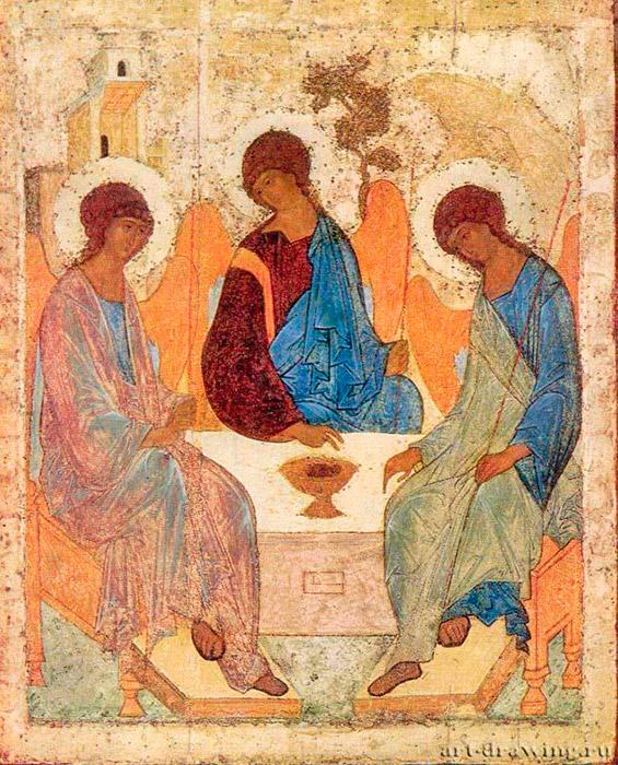 """Αν και το όνομα του Ρουμπλιόφ αναφέρεται στα χρονικά κατασκευής των διαφόρων εκκλησιών, ο ίδιος έγινε γνωστός ως καλλιτέχνης μόνο στις αρχές του 20ού αιώνα, μετά την αποκατάσταση της """"Αγίας Τριάδας"""" το 1904. Στην εικόνα αυτή του Ρουμπλιόφ, η προσοχή επικεντρώνεται στους τρεις αγγέλους και τη σιωπηλή συνομιλία τους. Ο Πατέρας Θεός ευλογεί τον θάνατο του Υιού στο σταυρό της αγάπης για όλους τους ανθρώπους. Το Άγιο Πνεύμα (ο άγγελος δεξιά) είναι παρών ως μια παρηγοριά, που επιβεβαιώνει το βαθύτερο νόημα της θυσίας. / Η Αγία Τριάδα, 1410."""