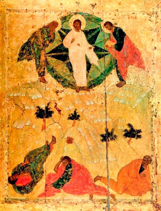 """Ο Ρουμπλιόφ άρχισε να εργάζεται στο τέμπλο του καθεδρικού ναού του Ευαγγελισμού της Θεοτόκου, στο Κρεμλίνο της Μόσχας. Η υπογραφή του δημιουργού στις αρχαίες ρωσικές εικόνες είναι ένα πολύ σπάνιο φαινόμενο. Τα σωζόμενα ιστορικά στοιχεία για τη ζωή και το έργο του Αντρέι Ρουμπλιόφ είναι εξαιρετικά αντιφατικά. Για παράδειγμα, η πατρότητα της «Μεταμόρφωσης» δεν του έχει ακόμη αποδοθεί. Οι συντάκτες του Καταλόγου της Παγκόσμιας Κληρονομιάς της UNESCO αναφέρουν το έργο αυτό ως εργασία από το """"Σχολή του Ρουμπλιόφ"""". / Η Μεταμόρφωση, 1425."""