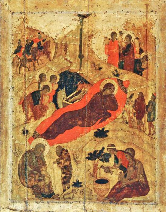 """Ανάμεσα στα πρώιμα έργα του Ρουμπλιόφ είναι """"Η Γέννηση του Χριστού', στον καθεδρικό ναό του Ευαγγελισμού της Θεοτόκου στη Μόσχα. Λάτρης του ζωντανού χρώματος μέσα σε μια φωτισμένη ατμόσφαιρα, ο δημιουργός του έργου """"Η Γέννηση του Χριστού"""" δεν βλέπει τις μορφές και τις σιλουέτες ως επίπεδες κηλίδες, αλλά μάλλον, ως φωτεινή παρουσία από το μέλλον, σε αχανή χώρο. Τα πάντα φαίνεται πως είναι περιβεβλημένα με σημασία, αλλά και μεγάλη ελευθερία, τόσο χωρική όσο και πνευματική. / Η Γέννηση του Χριστού, 1405."""