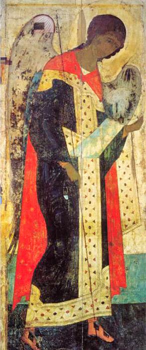 Η ζωγραφική στη Δέηση του Ζβενίγκοροντ ξεχωρίζει για τη μοναδική καθαρότητα του χρώματος, την αρχοντιά των τονικών μεταβάσεων και τη φωτεινότητα των χρωμάτων. Φως ακτινοβολεί από το χρυσό φόντο και μέσα από την ευγενική ανάδυση φωτεινών προσώπων, τις καθαρές αποχρώσεις της ώχρας, του μπλε, ροζ και από τις πράσινες αποχρώσεις των ρούχων. Στην εικόνα του Αρχαγγέλου Μιχαήλ, ο Ρουμπλιόφ δόξασε την ήσυχη, λυρική ενατένιση του ποιητή. / Ο Αρχάγγελος Μιχαήλ, 1408.
