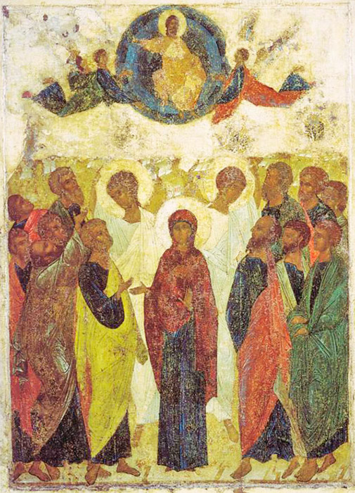 """Μπορεί να υποστηριχθεί με μεγάλη βεβαιότητα ότι το 1408 ο Ρουμπλιόφ στάλθηκε να ζωγραφίσει τον Καθεδρικό Ναό της πόλης Βλαντίμιρ. Ο καθεδρικός ναός Κοιμήσεως του Βλαντίμιρήταν ιδιαίτερα σεβαστός στην Αρχαία Ρως και στο μεγάλο Πριγκιπάτο της Μόσχας, όπου δεν σταμάτησε ποτέ η φροντίδα και η συντήρηση του. Η εικόνα της """"Ανάληψης"""" από την Αγία Δέηση στο τέμπλο της Μητρόπολης του Βλαντίμιρ διαθέτει μια ειδική ρυθμική σύνθεση, όπως καμία από τις άλλες πολυπρόσωπες άγιες εικόνες. / Αναλήψεως, 1408."""