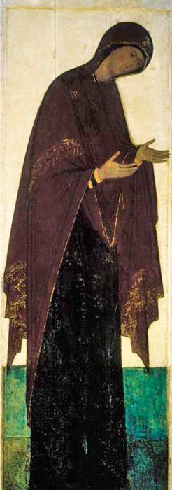 Στη Δέηση του Ρουμπλιόφ στον Καθεδρικό Ναό Κοιμήσεως, υπάρχει η απεικόνιση της νεαρής Παναγίας ντυμένης με σκούρα χρώματα που είναι ασυνήθιστα μινιμαλιστική, αλλά κατακτά με την αυστηρή, αρχοντική ομορφιά της. Οι βυζαντινοί καλλιτέχνες ζωγράφιζαν την Παναγία με διαφορετικό τρόπο, εκφράζοντας μια τραγική αρχή στην απεικόνισή της, όπου η Παρθένος δεν είναι τόσο νέα όπως του Ρουμπλιόφ και απεικονίζεται με βαρείς τόνους. Οι Ρώσοι καλλιτέχνες προσπαθούν να ανακινήσουν φωτεινά, χαρούμενα συναισθήματα στον θεατή. / Η Παναγία, 1408.