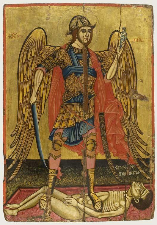 Ο αρχάγγελος Μιχαήλ ψυχοπομπός. Τέλη 18ου - αρχές 19ου αιώνα. Πρόσφατα αποκαλύφθηκε και παλαιότερο στρώμα ζωγραφικής, ορατό σε λίγα σημεία της εικόνας. Από τη Messina. - Αθήνα, Βυζαντινό και Χριστιανικό Μουσείο