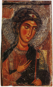 Αρχάγγελος Μιχαήλ (12 αιώνας μ.Χ.) - Ιερά Μονή Ιωάννη Χρυσοστόμου (Κύπρος) στον κατεχόμενο Κουτσοβέντη. Η εικόνα κλάπηκε από τους Τούρκους και αγνοείται η τύχη της.
