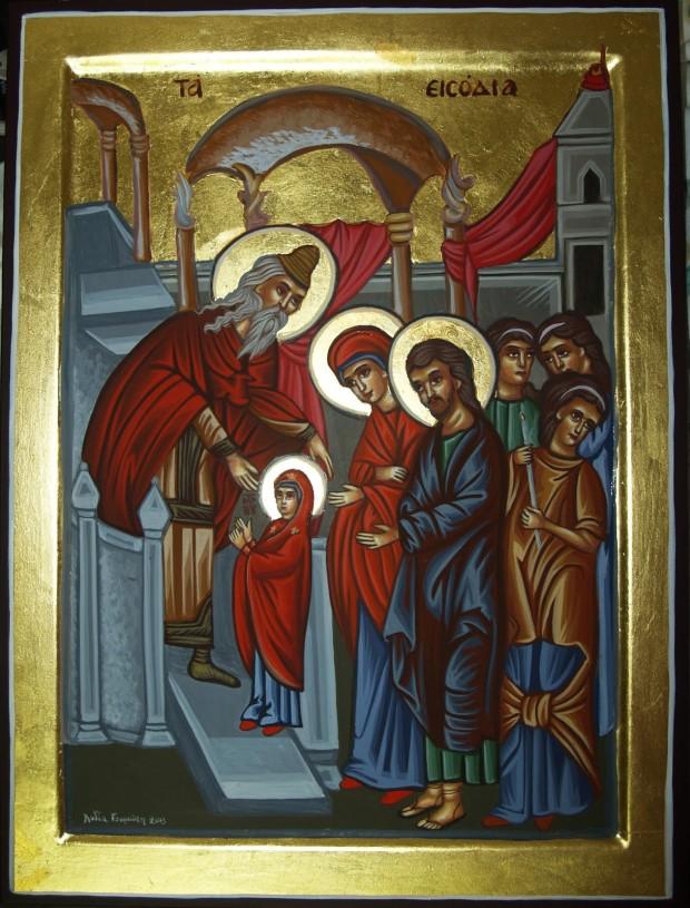 Εισόδια της Θεοτόκου - Λυδία Γουριώτη© (lydiagourioti-iconography.blogspot.com
