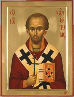 Άγιος Ιωάννης ο Χρυσόστομος - Εικόνα από το Aγιογραφείο της Μονής Βατοπαιδίου