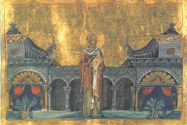 Άγιος Γρηγόριος Νεοκαισαρείας ο Θαυματουργός - Μικρογραφία από το Μηνολόγιο του αυτοκράτορα Βασιλείου του Β΄