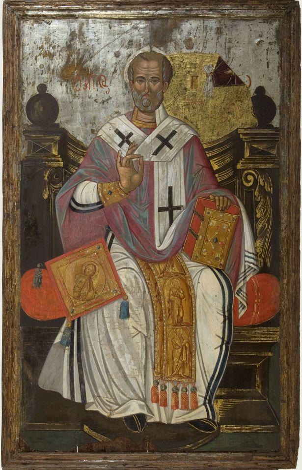 Άγιος Νικόλαος Αρχιεπίσκοπος Μύρων της Λυκίας - Β΄ μισό 17ου αιώνα. Αποκαλύφθηκε κάτω από νεώτερο στρώμα με παράσταση του αγίου Σπυρίδωνα. Από τη Messina - Αθήνα, Βυζαντινό και Χριστιανικό Μουσείο