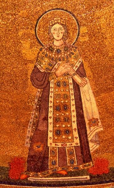 Ψηφιδωτό της Αγίας Αγνής όπου και απεικονίζεται ανάμεσα σε δύο Πάπες.-Φωτο: el.wikipedia.org