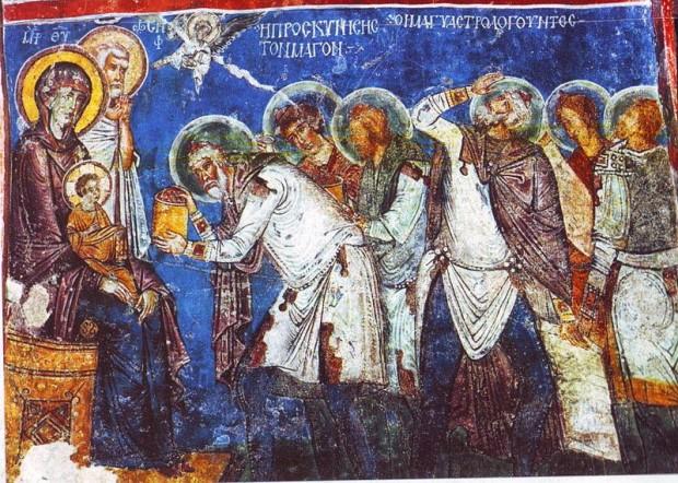 Η Προσκύνησις των Μάγων. Τοιχογραφία σε λαξευτή βυζαντινή εκκλησία της Καππαδοκίας (12ος αιώνας).