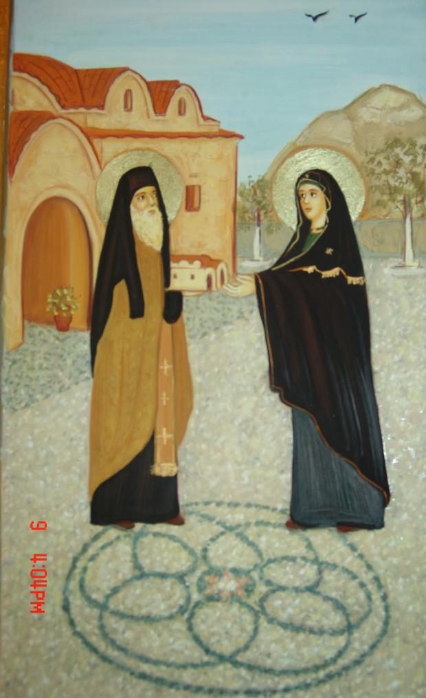 Ο Άγιος προσφέρει στην Παναγία τον ναό Της
