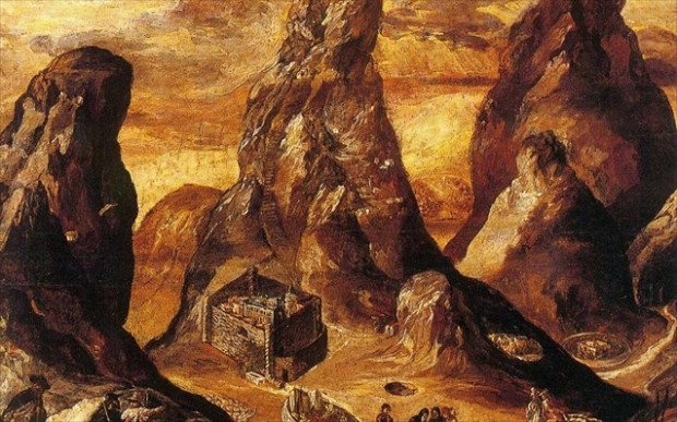 Δομήνικος Θεοτοκόπουλος (Γκρέκο):  Άποψη του Όρους και της Μονής Σινά, περ. 1570. Τέμπερα και λάδι σε ξύλο. Ιστορικό Μουσείο Κρήτης, αρ. ευρ. 3149, Ιδρύματα Ανδρέου και Μαρίας Καλοκαιρινού, υπό καθεστώς μακροχρόνιου δανεισμού