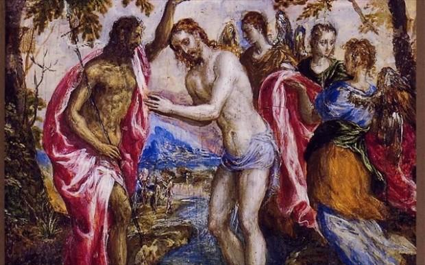 Δομήνικος Θεοτοκόπουλος (Γκρέκο): Η Βάπτιση του Χριστού, περ. 1566/7. Μεικτή τεχνική (αυγοτέμπερα και λάδι) σε ξύλο. Δήμος Ηρακλείου, υπό καθεστώς μακροχρόνιου δανεισμού στο Ιστορικό Μουσείο Κρήτης