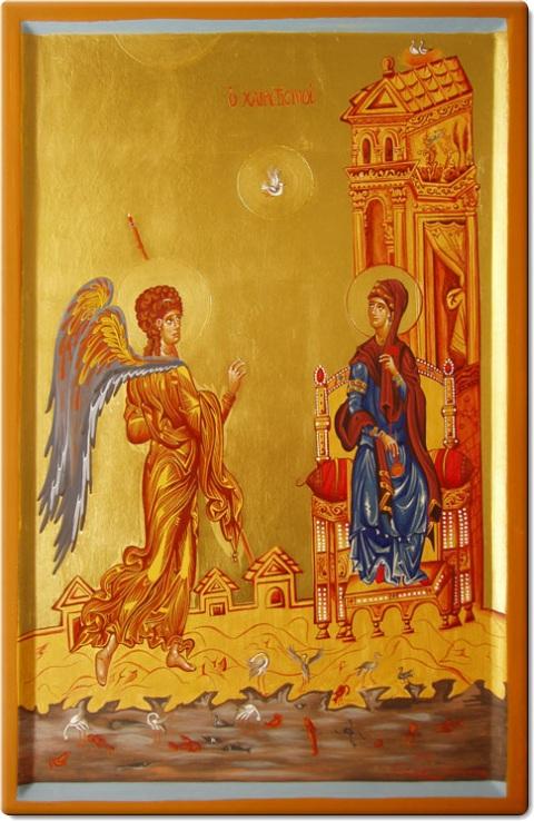 Ευαγγελισμός της Υπεραγίας Θεοτόκου - Πιστό αντίγραφο εικόνας που βρίσκεται στην Μονή Αγίας Αικατερίνης στο Σινά (12ος