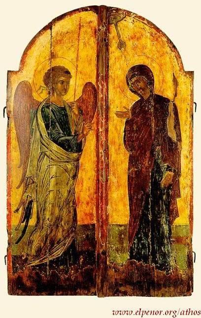 Ευαγγελισμός της Υπεραγίας Θεοτόκου - Bημόθυρα - 14ος-15ος αι. μ.Χ. - Mονή Σίμωνος Πέτρας, Άγιον Όρος
