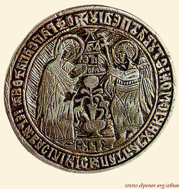 Σφραγίδα Mονής Bατοπαιδίου (H σφραγίδα φέρει στη σφενδόνη την παράσταση του Eυαγγελισμού της Θεοτόκου, στον οποίο είναι αφιερωμένη η Mονή Bατοπαιδίου) - 1620 μ.Χ. - Mονή Bατοπαιδίου, Άγιον Όρος