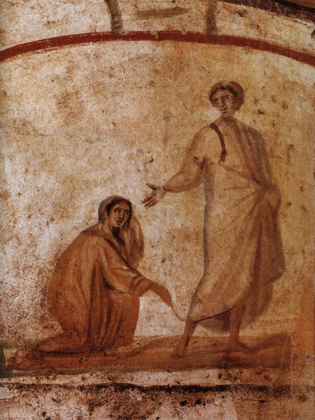 Η Θεραπεία της Αιμορροούσας, τοιχογραφία από την Κατακόμβη των Μαρκελλίνου και Πέτρου, αρχές 4ου αι. μ.Χ.