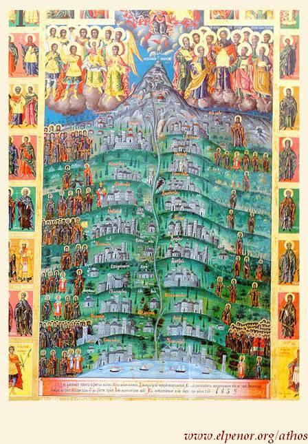 Γενική άποψη του Aγίου Όρους με τα καθιδρύματα,απόστολοι, αρχάγγελοι, μοναχοί και άγιοι (χείρ Γενναδίου Mοναχού) - 1859 μ.Χ. - Pουμανική Σκήτη Tιμίου Προδρόμου, Άγιον Όρος