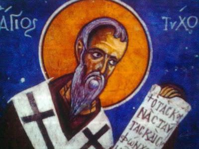 Άγιος Τύχων. Τοιχογραφία του ναού της Παναγίας του Άρακος. 1192 Saint Tychon. Mural from the church of Panagia of Arakas. 1192