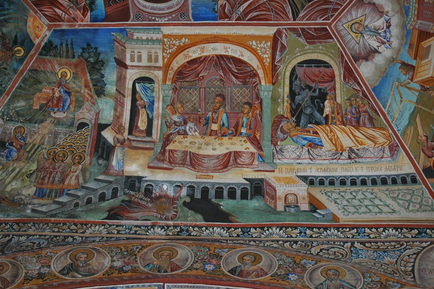 H παραβολή του άσπλαχνου πλουσίου και του φτωχού Λαζάρου - τοιχογραφία στον Νάρθηκα της Ι.Μ.Μεγίστης Λαύρας.