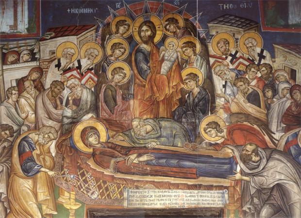 Κοίμηση της Θεοτόκου - Τοιχογραφία καθολικού Ι.Μ. Βατοπαιδίου (1312 μ.Χ.)
