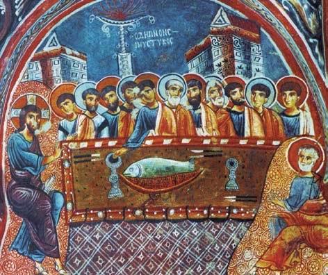 Ὁ Μυστικὸς Δεῖπνος, τοιχογραφία, 13ος αἰ., Γκόρεμε, Καππαδοκία.