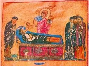 Άγγελος Κυρίου λαμβάνει τη ψυχή Μοναχού (μικρογραφία χειρογράφου).