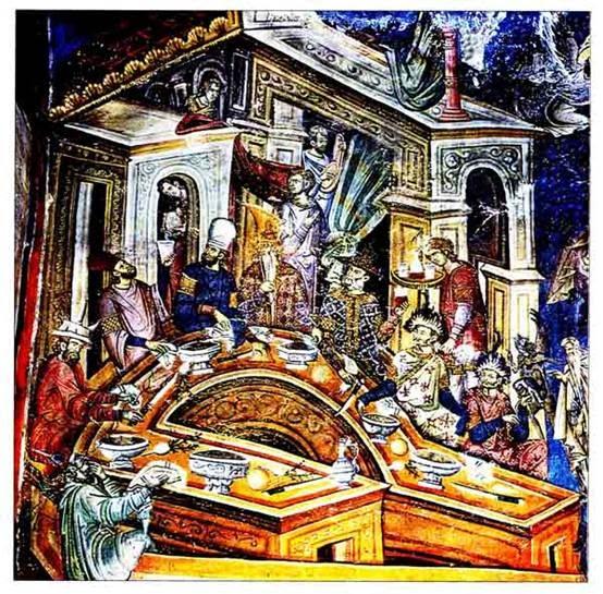 Συμπόσιο αρχόντων, αρχές 14ου αι. (λεπτομέρεια από τον Εξωνάρθηκα του Καθολικού της Μονής Βατοπαιδίου, Άγιον Όρος). Στα κομνήνεια και παλαιολόγεια χρόνια αναφέρονται και εικονίζονται με περισσότερες λεπτομέρειες τα τραπεζώματα: περιγραφές βρωμάτων, σκευών, έμφαση στην οινοποσία, στη χαλάρωση και τη γαστρονομική ηδονή. Η παραπάνω παράσταση με συνδαιτυμόνες Βαράγγους, Τατάρτους και Βυζαντινούς εικονίζεται σε εξωνάρθηκα ως καταδικαστέα και προς αποφυγή συμπεριφορά.