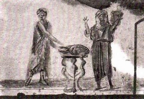 Η Θεία Ευχαριστία, αλληγορική παράσταση στη Κατακόμβη του Αγίου Καλλίστου της Ρώμης (3ος αιών).