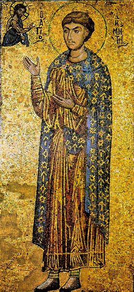 Άγιος Δημήτριος ο Μυροβλύτης - Ψηφιδωτή εικόνα, Μονή Ξενοφώντος, β' μισό 12ου αι. μ.Χ.