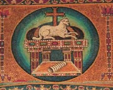Ὁ Ἀμνός, Ψηφιδωτό,Ναὸς Ἁγ. Κοσμᾶ καὶ Δαμιανοῦ, Ρώμη, 6ος αἰ.