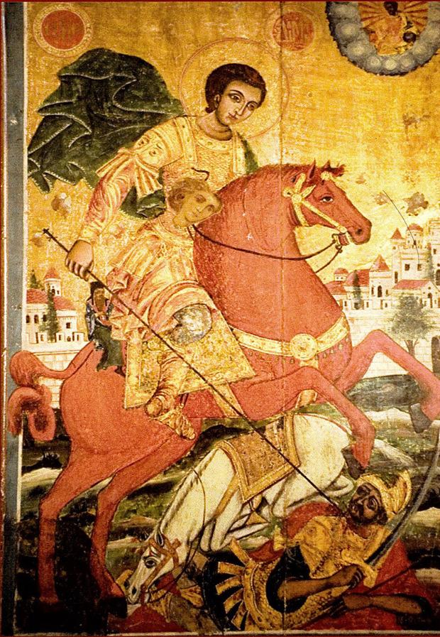 Το 1890 μ.Χ. όταν ήρθαν οι Βούλγαροι (κομιτατζήδες) καίγανε ή έβγαζαν τα μάτια του Αγ. Δημητρίου. Για να μην γίνει αυτό οι μοναχοί της μονής του Αγ. Γεωργίου Τριμορφου επιζωγράφησαν την εικόνα του Αγ. Γεωργίου πάνω στην εικόνα του Αγ. Δημητρίου. Αυτό ανακαλύφθηκε το 2000 μ.Χ. και στείλανε την παραπάνω εικόνα στο Παν. Θεσσαλονίκης, όπου έγινε η αποκατάσταση με την διαφορά ότι αφήσανε το κεφαλάκι του Αγ. Γεωργίου για να θυμόμαστε το γεγονός.