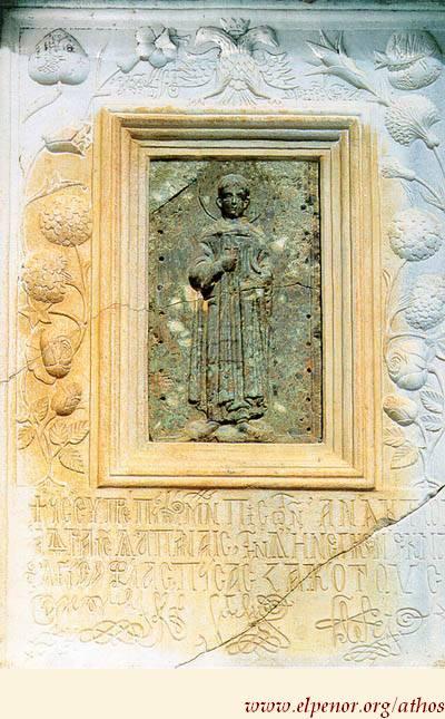Aνάγλυφη εικόνα του Aγίου Δημητρίου - 12ος αι. μ.Χ. (κεντρικό θέμα) - 18ος αι. μ.Χ. (εξωτ. πλαίσιο) - Mονή Ξηροποτάμου, Kαθολικό, Nοτιοδυτική εξωτερική γωνία του νάρθηκα, Άγιον Όρος