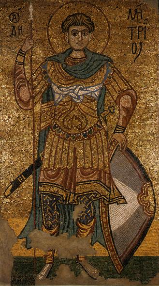 Άγιος Δημήτριος ο Μυροβλύτης - Μωσαϊκό μοναστηριού του Κιέβου, το οποίο βρίσκεται τώρα σε μουσείο της Μόσχας