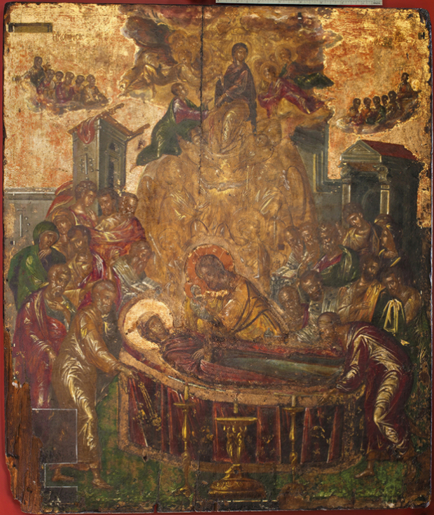 Η Κοίμηση της Θεοτόκου, 1565-1567. Ζωγράφος: Δομήνικος Θεοτοκόπουλος. Ιερά Μητρόπολη Σύρου, Ναός Κοίμησης Θεοτόκου, Ερμούπολη.
