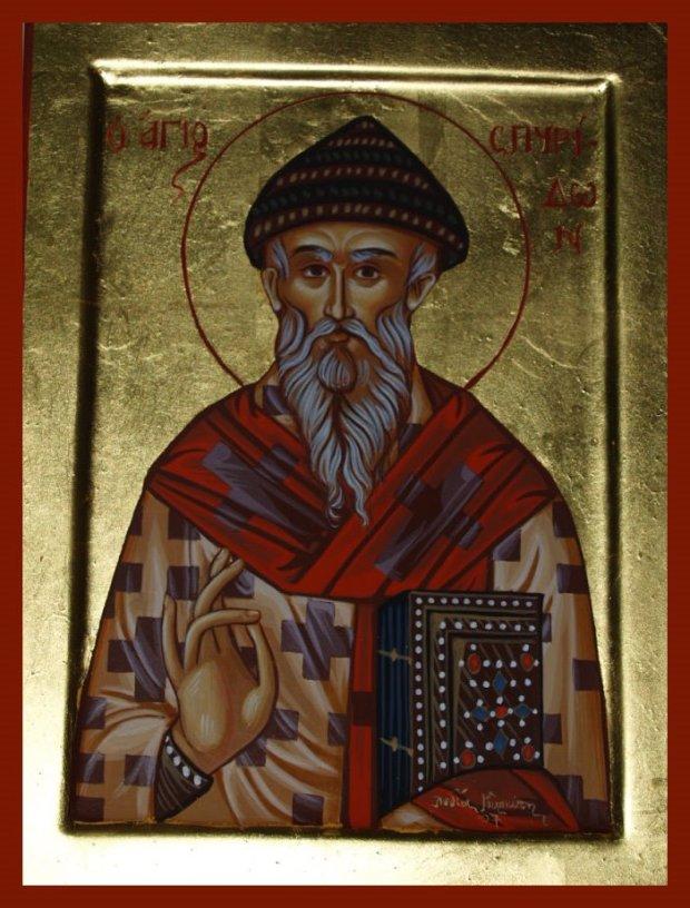 Άγιος Σπυρίδων ο Θαυματουργός, επίσκοπος Τριμυθούντος Κύπρου - Λυδία Γουριώτη© (http://lydiagourioti-iconography.blogspot.com)