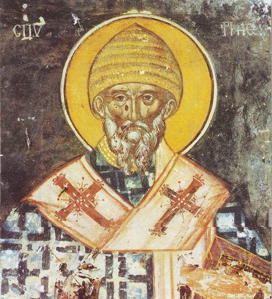 Άγιος Σπυρίδων ο Θαυματουργός, επίσκοπος Τριμυθούντος Κύπρου - Τέλη 15ου αι. μ.Χ. Καρουσάδες, ναός Αγίας Αικατερίνης. Νότιος τοίχος.