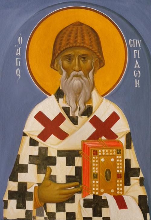 Άγιος Σπυρίδων ο Θαυματουργός, επίσκοπος Τριμυθούντος Κύπρου - Ι. Ν. Οσίων Παρθενίου και Ευμενίου των εν Κουδουμά, δια χειρός Παναγιώτη Μόσχου (2006 μ.Χ.)