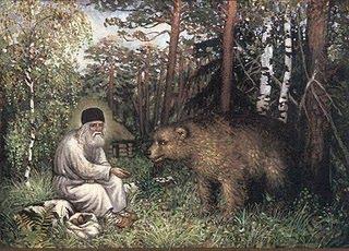 Ο άγιος Σεραφείμ και η αρκούδα που τον επισκεπτόταν στα δάση.