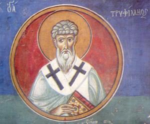 Άγιος Τριφύλλιος Επίσκοπος Λήδρας - Τοιχογραφία που βρίσκεται στο ναό της Παναγίας του Άρακα. 1192 μ.Χ.